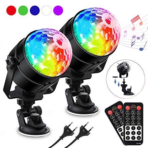 LED Discokugel Kinder, SOLMORE Discolicht RGBWP Lichteffekt 360°Drehbares, Disco Ball 7 Farben, 8 Modi Led Partylicht mit Fernbedienung, Musik aktiviert für Kinder, Party Halloween Weihnachten Deko