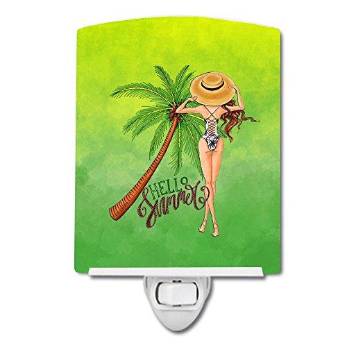 Caroline Tesoros Hello Summer Lady en–Bañador de cerámica luz Nocturna, 6x 4,'Multicolor
