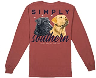 Simply Southern Men's Black and Yellow Lab Comfort Colors Long Sleeve T-Shirt
