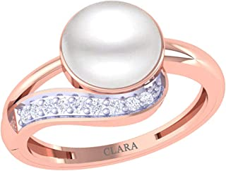Clara 92.5 Sterling Silver Rose Gold Plated Real Pearl Ring Gift for Women and Girls