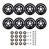 Rollerex Inline Skate Wheels VXT500 (8-Pack or 2-Pack or 2 Wheels w/Bearings, Spacers and Washers) (72mm Steel Black (8 Wheels w/Bearings, spacers and washers))