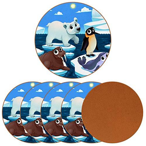Posavasos para bebidas, diseño de animales polares en el hielo con impresión de piel redonda para proteger muebles, resistente al calor, decoración de bar de cocina, juego de 6