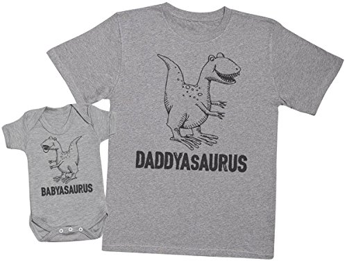Zarlivia Clothing Daddysaurus & Babysaurus - Ensemble Père Bébé Cadeau - Hommes T-Shirt & Body bébé - Gris - Medium & 18-24 Mois