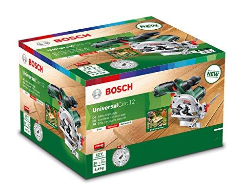 Bosch 12V Akku Mini Handkreissäge UniversalCirc 12 mit Akku, Ladegerät, Sägeblatt für Holz, Absaugadapter, Parallelanschlag, Karton (12 Volt System, 2,5 Ah) - 7