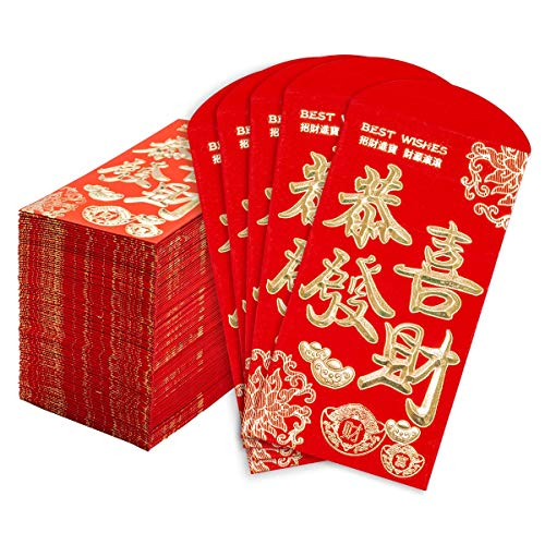 Chinese New Year Red Envelopes 100 Count Chinese Red Packets Hong Bao With Gold Foil Design Gift Money Envelopes Gong Xi Fa Cai 3 5 X 6 4 Inches Wantitall