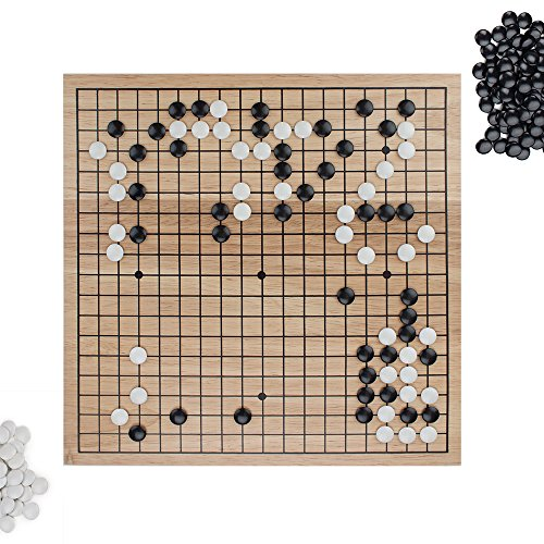 Go Set with Natural Wood Board | Portable 29 x 29cm (11.4' x 11.4') Set | Complete Set of 361 Stones | 19x19 Grid Layout, Portable Size for Travel | 2-Player - Classic Chinese Strategy Board Game