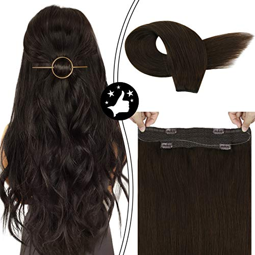 Moresoo Hair Extensions Halo Dark Brown Human Hair Extensions #2 Wire Hair Extensions Human Hair 18inch Halo Hair Extensions Brown 100G Per Pack