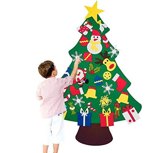Chensensor DIY El árbol de Navidad del Fieltro de los 3.3FT fijó los Ornamentos Desmontables 30pcs Regalos Colgantes de Navidad de la Pared para Las Decoraciones de la Navidad