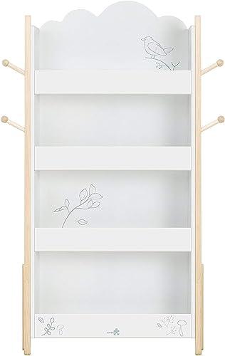 HONNIEKIS Bibliothèque Enfant, étagère en Bois, étagère de RangeHommest Blanche pour Enfants - Motif d'oiseau, Meuble Enfant