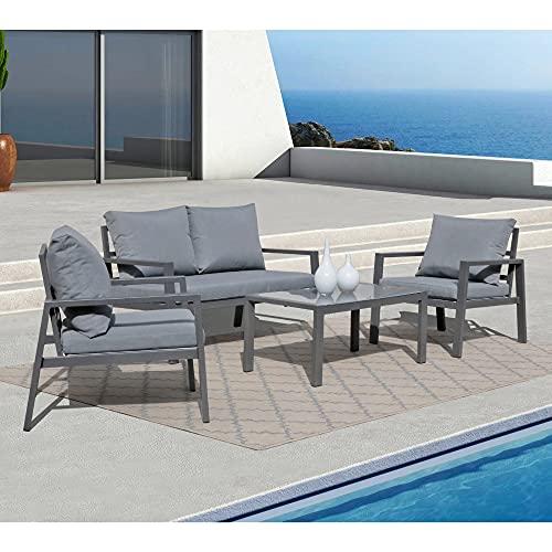 Soleil Jardin 4-Piece Aluminum Outdoor Patio Furniture, Patio Conversation Sofa Set with Removable...