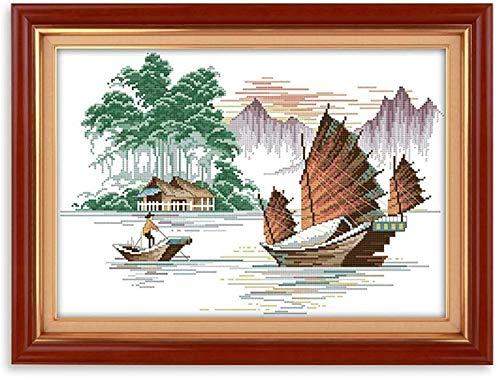 kit de punto de cruz Barco de pesca 11 cuenta punto de cruz impreso Costura hecha a mano...