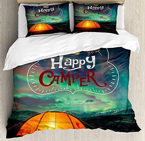 ABAKUHAUS Happy Camper Funda Nórdica, Aurora Borealis Carpa, Estampado Lavable 3 Piezas con 2 Fundas de Almohada, 200 x 200 cm - 70 x 50 cm, Multicolor
