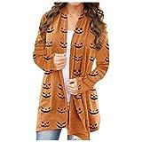 Women's Pumpkin Cat Cardigan Halloween Long Sleeve Open Front Knit Sweater Overwear Coat Plus Size Sweatshirt.S-5XL