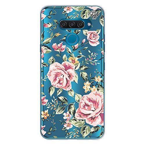 BJJ SHOP Funda Slim Transparente para [ LG K50 / LG Q60 ], Carcasa de Silicona Flexible TPU, diseño: Flores Vintage Margaritas Fondo Azul