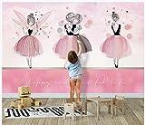 Papier Peint 3D-Ballerine Rose Fille Enfants Chambre Fond Mur Moderne Intissé Photo Murale Chambre...