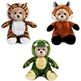 My OLi 7' Wild Animals Teddy Bears Pack of 3 Stuffed Costumed Bears: Crocodile, Fox, and Tiger with Fliptable Hats Gifts for Babies Kids Boys Girls