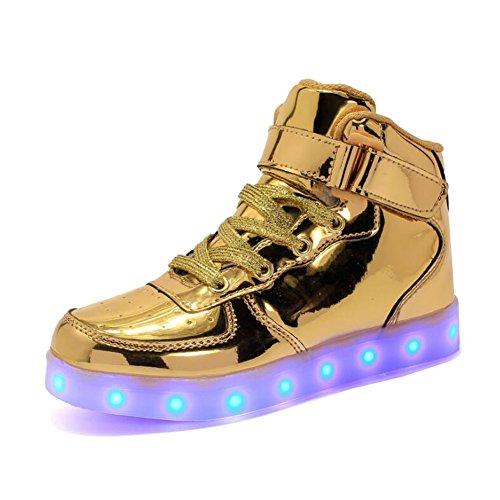 Rojeam Unisex Erwachsene High-Top LED Schuhe Sportschuhe USB Lade Outdoor Leichtathletik Beiläufige Paare Schuhe Sneaker Für Damen Herren Jungen Mädchen Kinder Gold 39 EU