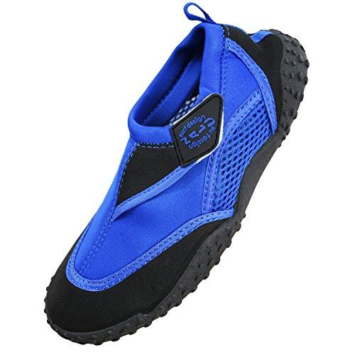 Nalu Hook & Loop Aqua Surf / Beach / Wetsuit Shoes (UK 7 / EU 41, Blue with Black Trim)