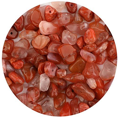 LUTER Cuentas de Piedra de Viruta Natural de Aproximadamente 500 Piezas Cuentas de Piedras Preciosas Irregulares Agujero Perforado para Joyería de Bricolaje Collar Pulsera Pendiente (Ágata Roja)