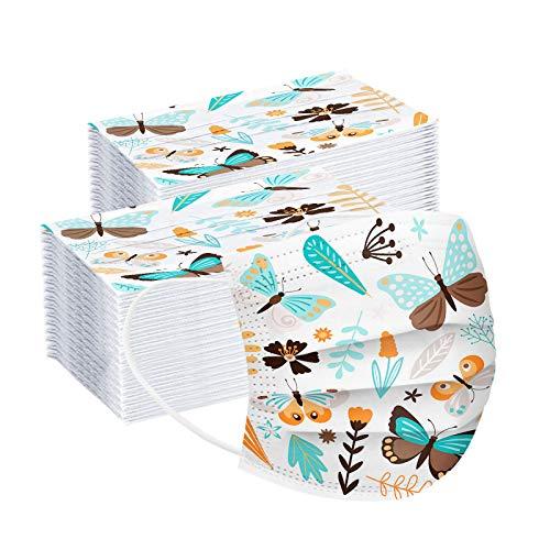 mzDkc0d Erwachsene Einweg Schmetterlings Mundschutz Multifunktionstuch 3-lagig Blumen Gedruckt Maske,Weiche Staubdicht Atmungsaktive Vlies Mund-Nasenschutz Bandana Halstuch