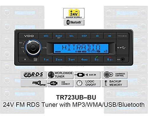 VDO 24 Volt Bluetooth LKW Radio, RDS-Tuner, MP3, WMA, USB, Truck & Bus, 24V TR723UB-BU