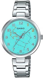 ساعة يد بمينا بلون اخضر بكوكبة برج الدلو الفلكي وسوار من الستانلس ستيل للنساء من كاسيو LTP-E08D-3ADR