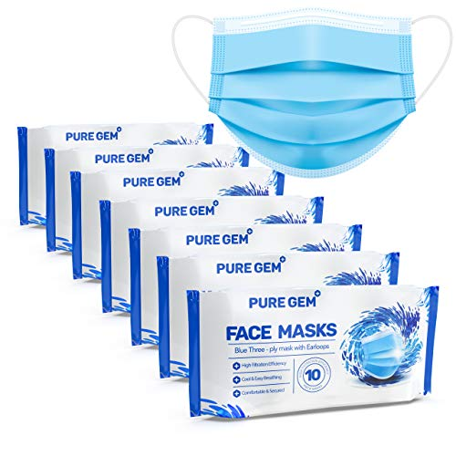 Premium Pack of 70 (7 x 10 Masks) Single Use Disposable Face Mask, Soft on Skin, Bulk Pack 3-Ply Masks Facial Cover with Elastic Earloops For Home, Office, School, and Outdoors (70 Pack)