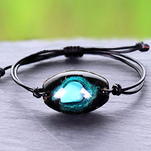 NIUBKLAS Brazalete de turquesas Naturales, Pulsera de joyería curativa con Encanto, Pulsera de meditación de obsidiana Reiki para Mujer