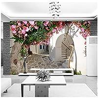 Wkxzz 壁の背景装飾画 サントリーニの花の町の壁紙カスタム写真の壁紙自然風景壁画寝室アートルーム装飾コーヒー回廊-350X250Cm