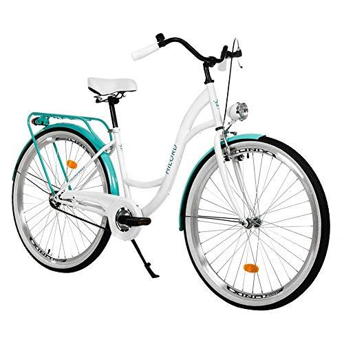 Milord. 28 Zoll 1-Gang Weiß Aquablau Komfort Fahrrad mit Gepäckträger Hollandrad Damenfahrrad Citybike Cityrad Retro Vintage