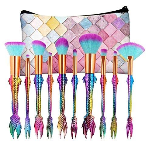 Mermaid Tail Makeup Brushes Set with Bag, YJM 10PCS New Arrival Foundation Eyeshadow Contour Eye Lip Makeup Brushes Set-Green Pink Gradient (Hot Pink)