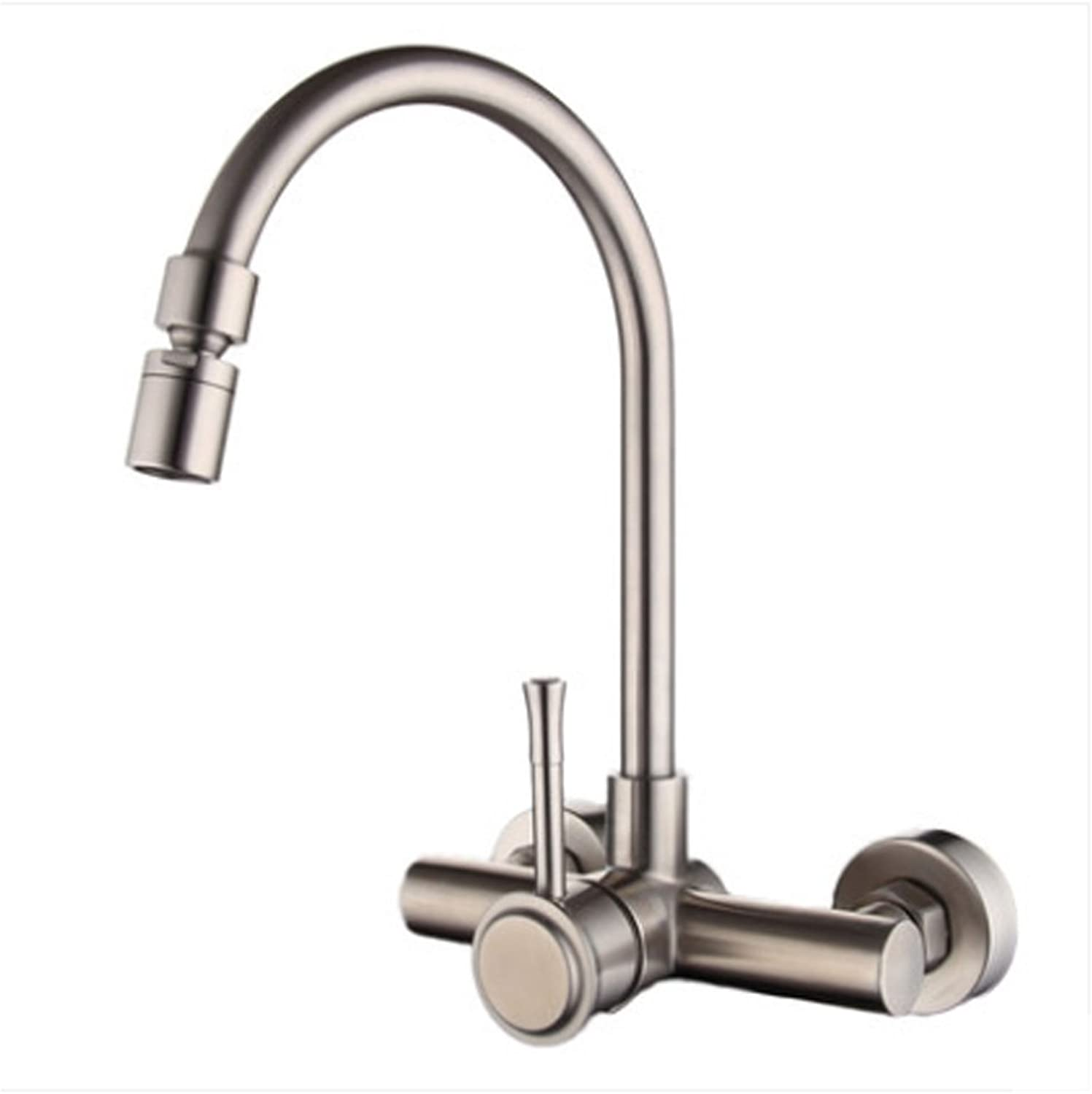 Double-hole Faucet 304 Stainless Steel Hot And Cold redating Into The Wall Kitchen Sink Dishwashing Mixing Valve Aperture Is 35MM To 40MM Can Be Installed MUMUJIN