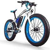 Bicicleta eléctrica 1000W Montaña bicicleta eléctrica 26 pulgadas 48V16AH Fat Tire Bicicleta eléctrica / 27 Velocidad de nieve bicicletas, faros LED, varón adulto Off-Road de...
