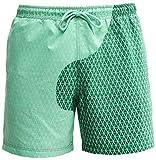 PANOZON Bañadores Hombre Pantalones Cortos Playa Shorts Cambiar de Color en Agua para Verano Vacaciones (Large, Cuadros Verdes)