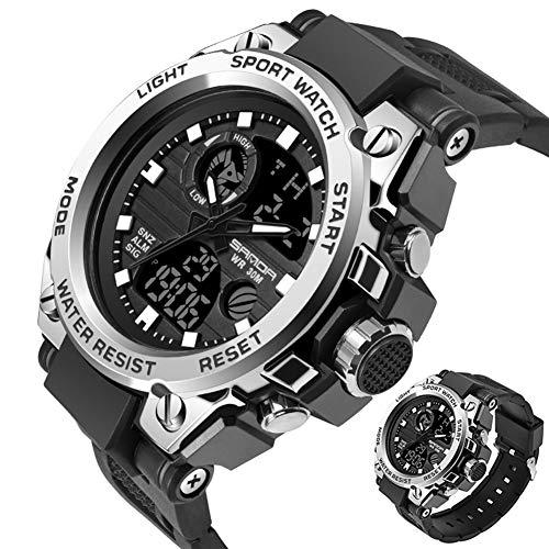 SANDABand Sport Herrenuhren Top-Marke Military Quarzuhr Männer wasserdicht S Shock Clock,BLACKSILVER