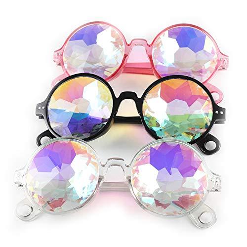 Gobesty Kaleidoskop Gläser, 3 stück Kaleidoskop Brille Regenbogen Rave Wurmloch Prisma Diffraktion Brille Regenbogen Kristall Linsen zum Rave, Festival, Lichtshow (schwarz, pink, transparent)
