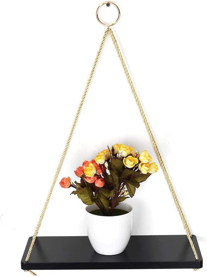 DFYYQ 35cm 45cm Solid Wood Single Ranking TOP12 Max 54% OFF Layer Rope Wall Shelf Hanging