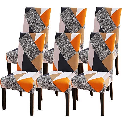 NIBESSER 6 Stück Stuhlhussen Stretch Stuhlbezug elastische Moderne Husse Dekoration Stuhlüberzug für Universelle Passform (E, 6er Set)