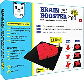 PLAY PANDA Brain Booster Type 2 (Junior) - 56 Puzzles Designed to Boost Intelligence - with Magnetic Shapes, Magnetic Boar...