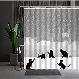 Cortina de Ducha geométrica patrón de Rayas decoración de la bañera Tela Impermeable artículos para el hogar Cortinas de baño S.5 200x200cm