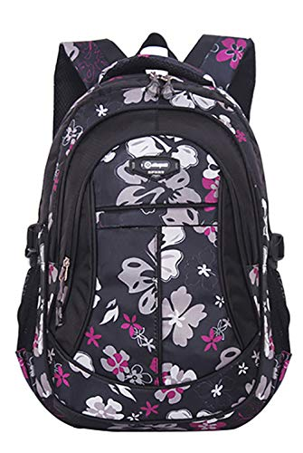 JiaYou Girl Flower Printed Primary Junior High University School Bag Bookbag Backpack(Style A Black,24 Liters)