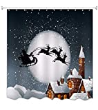 A.Monamour Santa Claus Riding The Sleigh Reindeer Pulling The Sleigh Over Round Bright Moon Christmas Themed Print Cloth Polyester Antibacterial Waterproof Moldproof Bath Curtains 180x200 cm / 72