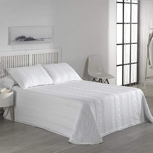 ENCAMA - Colcha Crochet 454 - Cama 180 Cm - Color C01 Blanco