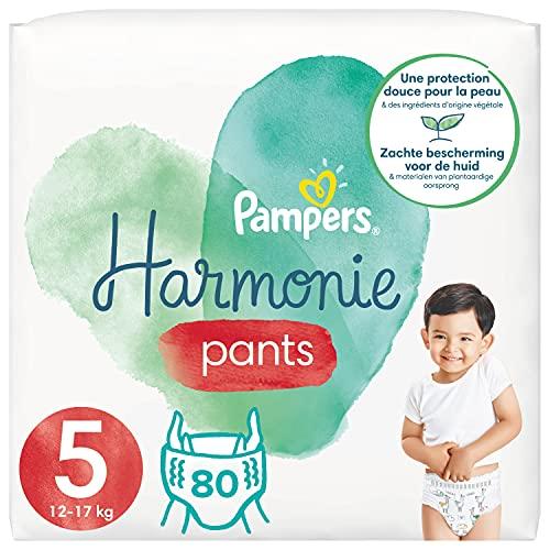 Pampers - Pañales de armonía, talla 5 (12-17 kg), 0 % de compromiso, 100 % de absorción, ingredientes de origen vegetal, fáciles de cambiar, 80 pañales (lote de 4 x 20)