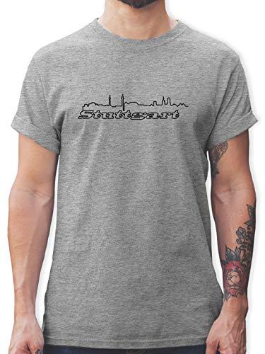 Skyline - Stuttgart Skyline - L - Grau meliert - Stuttgart t Shirt - L190 - Tshirt Herren und Männer T-Shirts
