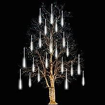 FYYZY Icicle Lights Snowfall Meteor Shower Rain Light Christmas LED Decoration Falling Drop String Light 8 Tube (White, 30cm)