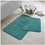 Gaveno Cavailia Ultra Peluche 2 pezzi Tappetino da bagno greco antiscivolo Set di 2 tappet...