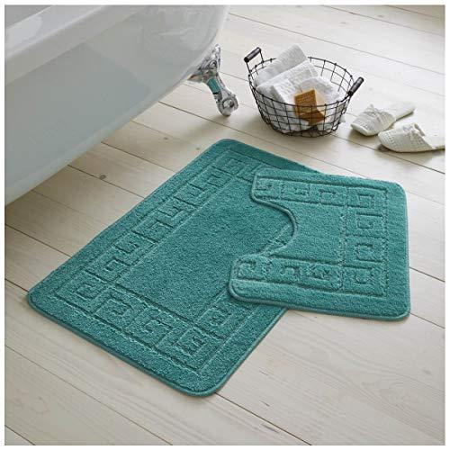 GC GAVENO CAVAILIA Juego de 2 Alfombrillas de baño griegas Antideslizantes de 2 Piezas, Extra absorbentes, 100% Polipropileno, Regular (50 x 80, 50 x 40 cm), Color Verde Azulado