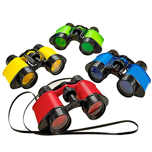 Kicko Toy Binoculars with Neck Strings - 4 Pack - 3.5 x 5 Inches - Colorful Novelty Binos for Children, Sightseeing, Birdwatching, Wildlife, Outdoors, Scenery, Outdoors, Indoors Pretend Play, Props