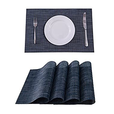 Set of 4 Placemats,Placemats for Dining Table,Heat-resistant Placemats, Stain Resistant Washable PVC Table Mats,Kitchen Table mats(Navy)